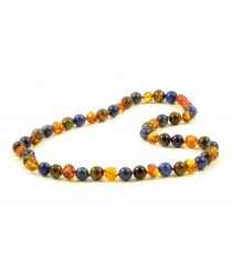 Genuine Baltic Amber Lapis Lazuli and Tiger Eye Necklace for Adults A34