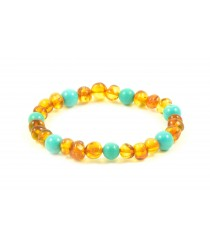 Baltic Amber and Turquoise Adult Bracelets L27