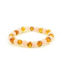 Baltic Amber and Rose Quartz adult Bracelet L21-19Q