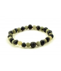 Baltic Amber and Labradorite Adult Bracelet L21-20G