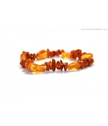 Olive (Bean) and Chips Mix Amber Bracelets on Elastic Band W114
