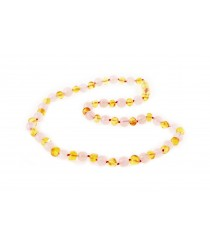 Baltic Amber and Rose Quartz Adult Necklace A36