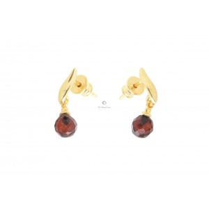 Amber Drop Earrings With Silver