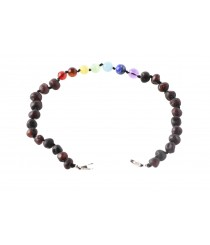 Amber and Chakra Anklet with silver Clasp J113