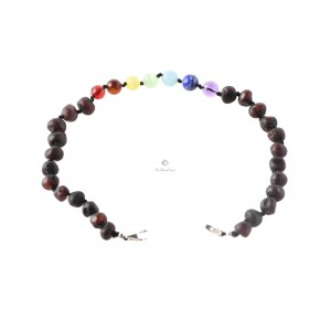Amber Gemstone Beads Adult Bracelet Silver Clasp