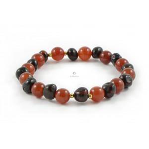 L17 Amber And Agate Mix Adult Bracelets