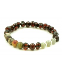 Amber and Picture Jasper Adult Bracelet