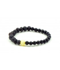 Amber Howlite and Obsidian adult Bracelet