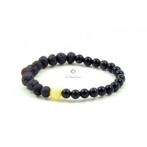 Amber Howlite and Obsidian adult Bracelet