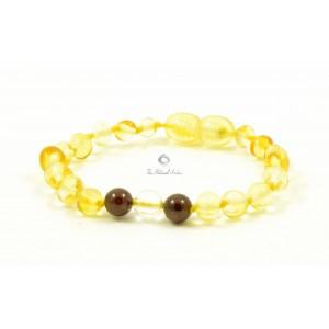Olive Baltic Amber Howlite and Cherry Agate Teething Bracelet S25-HW1
