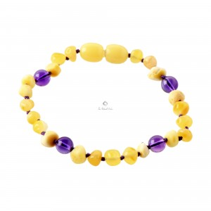 Milky Amber and Gemstone Teething Bracelets S33