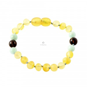 Amber and Amazonite Teething Anklets S35