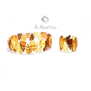 Multicolor Amber Bracelet and Ring Set ST100