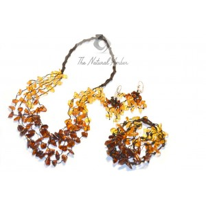 Amber Rainbow Necklace, Bracelet and Earrings Set ST101