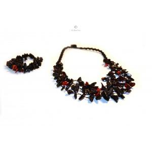 Red & Black Amber Necklace and Bracelet Set ST107
