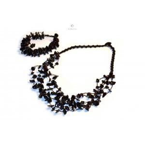 Black Amber Necklace and Bracelet Set ST108