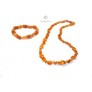 Raw Cognac Amber Necklace and Bracelet Set ST111