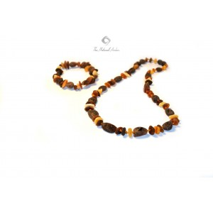 Raw Multicolor Amber Necklace and Bracelet Set ST112