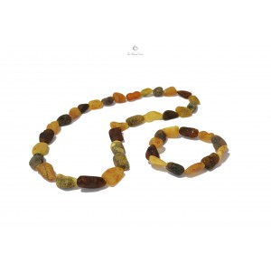 Raw Multi Bean Amber Necklace and Bracelet Set ST113