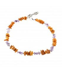 Amber, Silver and Amethyst Collars with Adjustable Chain P116