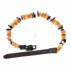 Amber and Gemstone Pet Collars with Leahter Strap P114