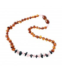 altic Amber Baroque and Gemstone Chip Teething Necklaces B58