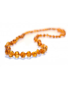 Light Cognac Polished Baroque Amber Beads Baby Necklace