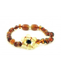 Cognac Baroque Polished Amber Beads Baby Bracelet with Lemon Flower