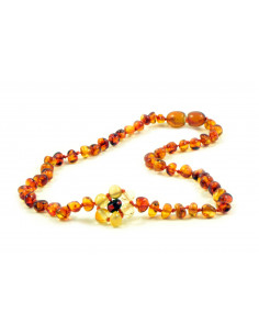 Cognac Polished Amber Beads Baby Necklaces With Lemon Flower