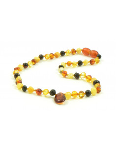 Multi Baroque Polished Amber Beads Baby Necklaces With Cognac Amber Pendant