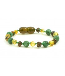 Green Baroque Polished  & Raw Amber and African Jade Beads Child Bracelet-Anklet