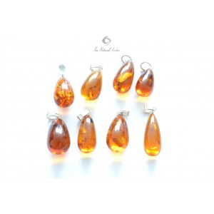 Cognac Amber Pendant with Sterling Silver P181