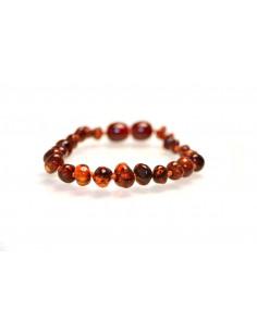 Dark Cognac Polished Baroque Amber Beads Baby Bracelet-Anklet