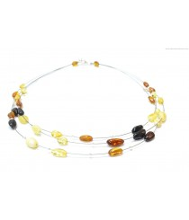 Adult Three Row Amber Necklace N193