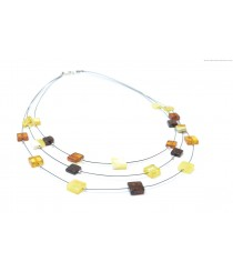 Adult Three Rows Amber Necklace N194