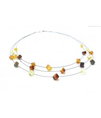 Adult Three Rows Amber Necklace N195