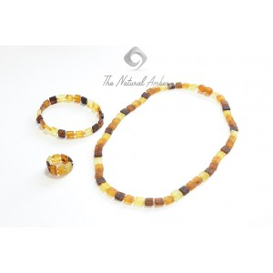 Raw Multi Amber Necklace, Bracelet and Ring Set ST117