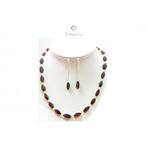 Amber Necklace and Amber Earrings Sterling Silver 925 ST123