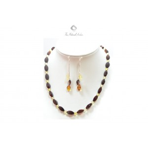 Amber Necklace and Earrings Jewelry Set ST124