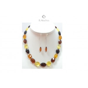 Faceted Amber Necklace and Earrings Set ST128