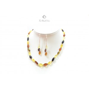 Multi Amber Necklace and Earrings Set ST126