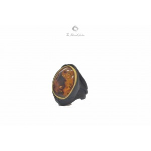 Cognac Amber Ring with Leather R115