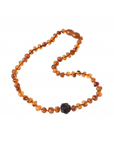 Cognac Baroque Polished Amber Bead Child Necklace with Cherry Rose Pendant