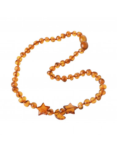Cognac Baroque Polished Amber Bead Child Necklace with Stars And Moon  Pendants