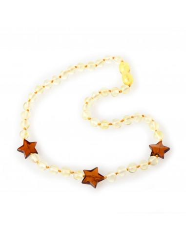 Lemon Baroque Polished Amber Bead Child Necklace with Cognac Star Pendants