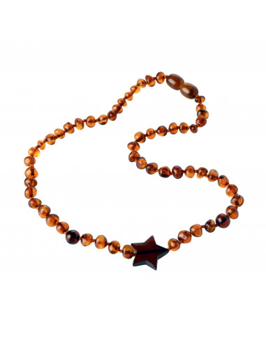 Cognac Baroque Polished Amber Bead Child Necklace with Dark Cognac Star Pendant
