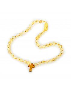 Lemon Baroque Polished Amber Bead Child Necklace with Cognac Cross Pendant