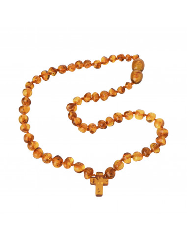 Cognac Amber Necklace With Cross Pendant