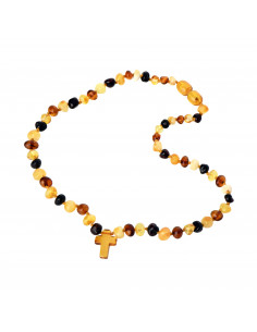 Multicolor Baroque Polished Amber Bead Child Necklace with Cross Pendant
