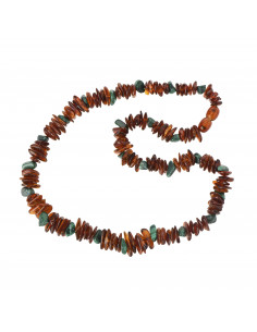 Cognac Chip Polished Amber and African Jade Beads Adult Necklace